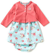 Little Me Baby Girls 3-12 Months Solid Cardigan and Floral-Printed Dress Set