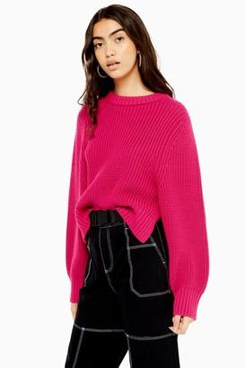 Topshop Womens Dark Pink Deep Ribbed Knitted Jumper - Bright Pink