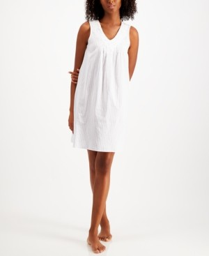 Charter Club Applique Cotton Sleeveless Nightgown, Created for Macys