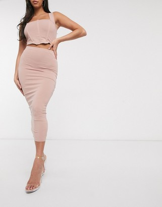 ASOS DESIGN sculpting maxi pencil skirt co-ord in beige