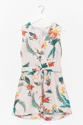 Nasty Gal Womens Palm Springs Floral Wrap Playsuit - White - XS, White