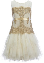Chantilly Place Little Girls 4-6X Sleeveless Metallic Lace Mesh Dress