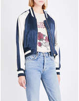 Mo&Co. Ladies Majolica Blue Exposed Zip Eagle-Embroidered Satin Bomber Jacket