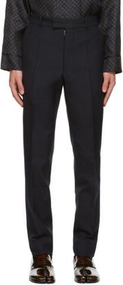 Maison Margiela Navy Techno Wool Slim-Fit Trousers