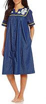 Go Softly Daisy-Embroidered Denim Patio Dress
