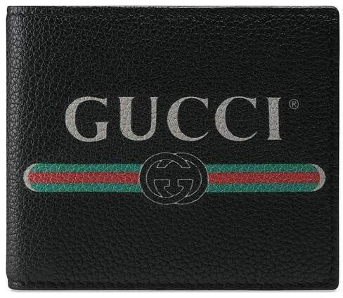 0680203e50 Print leather bi-fold wallet