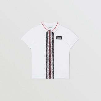 Burberry Monogram Stripe Cotton Pique Polo Shirt