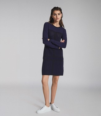 Reiss ELSIE TEXTURED KNITTED MINI DRESS Navy