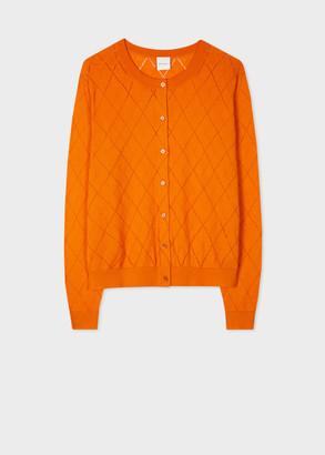 Paul Smith Women's Orange Pointelle Organic Cotton Cardigan