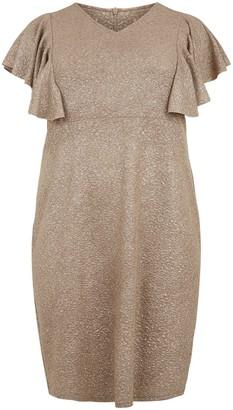 New Look Blue Vanilla Curves Shimmer Frill Dress