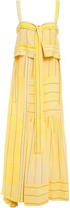 3.1 Phillip Lim Cutout Layered Striped Crepe Maxi Dress