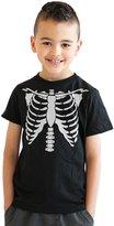Crazy Dog T-shirts Crazy Dog Tshirts Youth White Skeleton Rib Cage Halloween Costume T shirt -M