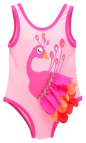Toddler Girls' Candlesticks Peacock One Piece Swimsuit - Pink