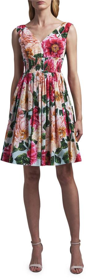 Dolce & Gabbana Floral Print V-Neck Dress