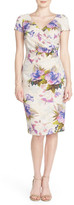 Adrianna Papell &Matlesse& Embellished Metallic Jacquard Sheath Dress