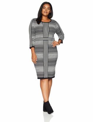Gabby Skye Women's Plus Size 3/4 Sleeve Round Neck Sweater Sheath Dress