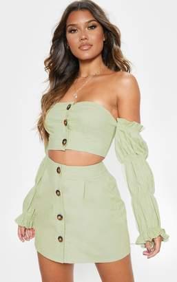 PrettyLittleThing Sage Green Cotton Button Detail Mini Skirt