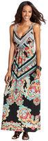 Style&Co. Dress, Sleeveless Scarf-Print Maxi