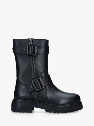 Carvela Sand Leather Buckle Biker Boots, Black