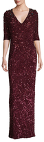 Jenny Packham Silk Sequin V Neck Gown
