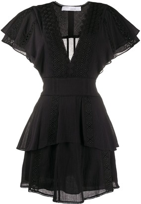 IRO Embroidered Ruffled Dress