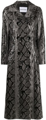 Stand Studio Snakeskin-Print Double-Breasted Coat