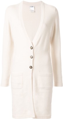 Chanel Pre Owned Cashmere Triple-Buttoned Knee-Length Cardigan