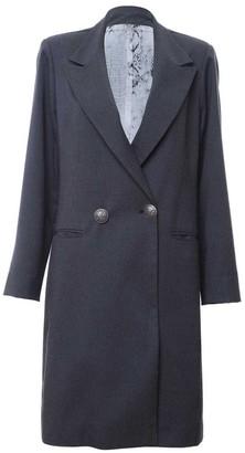 L2r The Label Double Breasted Long Blazer - Grey Tartan Wool