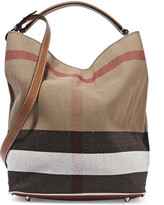 Burberry Leather-trimmed Checked Canvas Hobo Bag - Brown
