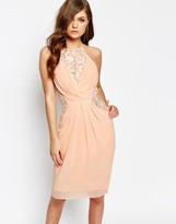 TFNC Midi Dress with Wrap Front and Lace Detail