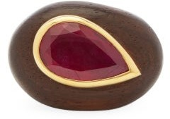 Rosa De La Cruz - Ruby, 18kt Gold & Ebony Ring - Black Pink