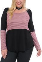 Celeste Black & Dark Pink Contrast-Stripe Scoop Neck Tunic - Plus
