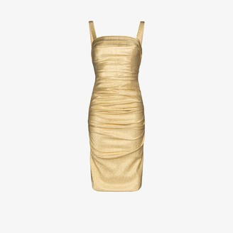 Dolce & Gabbana Lame Ruched Bodycon Dress