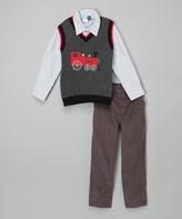 Good Lad Charcoal & Gray Chevron Train Sweater Vest Set - Boys