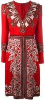 Alexander McQueen paisley v-neck dress - women - Silk/Viscose/Cotton - 42