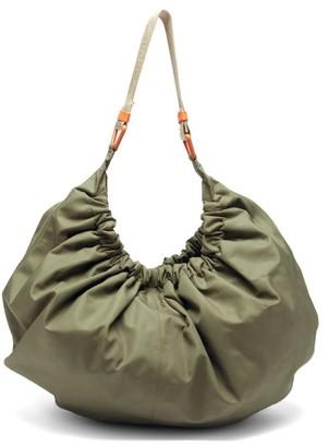 Ganni Gathered Recycled-fibre Shell Shoulder Bag - Khaki