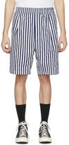 Sunnei Navy and White Striped Elastic Shorts