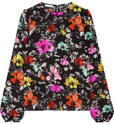 Oscar de la Renta Floral-print Silk-blend Cloqué Top - Black