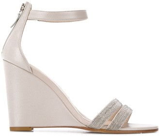 Fabiana Filippi Beaded-Strap Wedge Sandals
