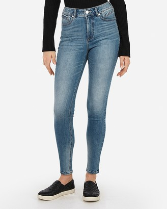 Express High Waisted Denim Perfect Curves Lift Ankle Leggings