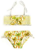 Floatimini Yellow Palm Tree Smocked Bikini - Girls