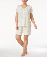 Charter Club Plus Size Top and Bermuda Shorts Printed Cotton Knit Pajama Set, Only at Macy's