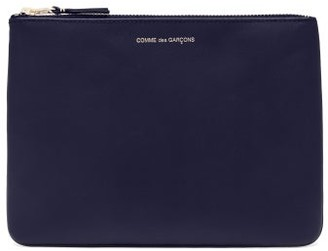 Comme des Garcons Foiled-logo Leather Pouch - Womens - Navy