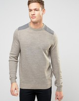 New Look Jumper In Stone With Grey Shoulder Patch