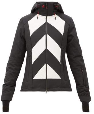 Perfect Moment Tignes Chevron Quilted Technical Ski Jacket - Womens - Black White