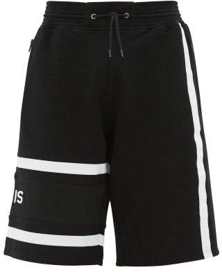 Givenchy Logo-embroidered Striped Cotton Shorts - Mens - Black White