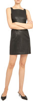 Theory Square-Neck Leather Short Dress