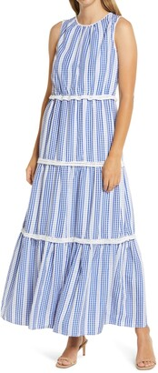 Julia Jordan Gingham Stripe Tiered Maxi Dress
