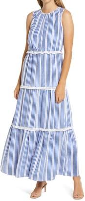 Julia Jordan Gingham Stripe Tiered Maxi Dress