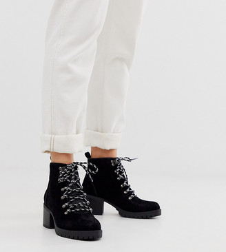 New Look Wide Fit heeled hiker boots in black